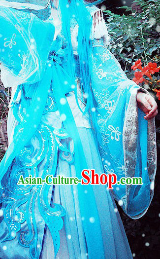 Blue Ancient Chinese Princess Style Costumes Complete Set