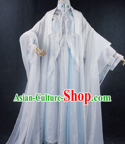 Ancient Chinese Legend White King Costumes Complete Set