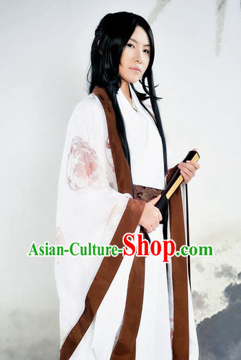 Ancient Chinese White Dragon Robe for Men