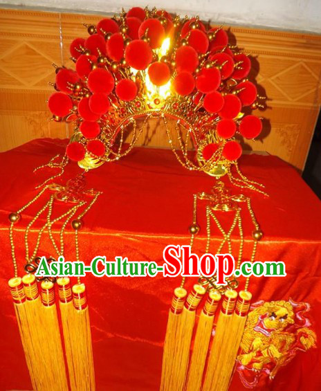 Ancient Chinese Red Phoenix Crown for Brides