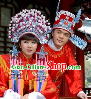 Ancient Chinese Wedding Phoenix Coronet and Zhuang Yuan Hat for Brides and Bridegrooms