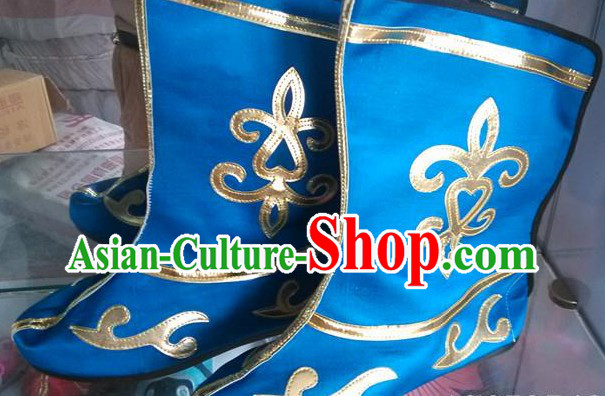 Blue Chinese Classical Stage Performance Shoes