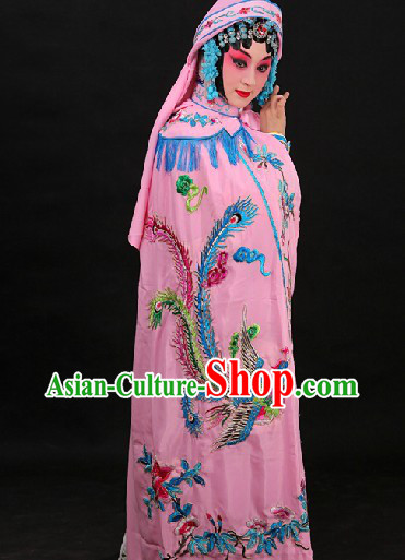 Pink Traditional Chinese Princess Phoenix Embroidery Cape