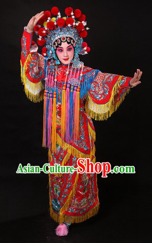 Traditional Chinese Opera Wudan Costume and Helmet for Women