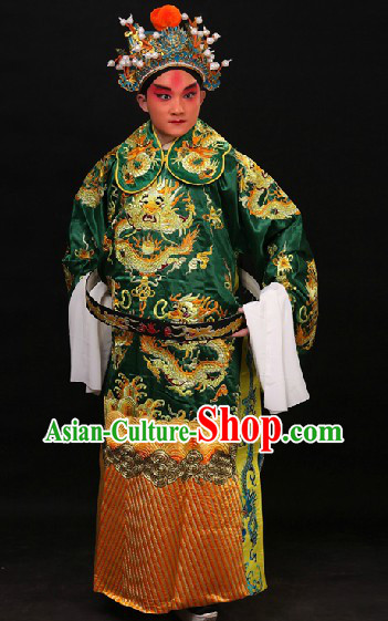 Green Traditional Chinese Opera Dragon Embroidery Costumes and Hat for Men