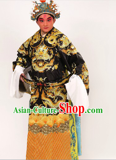 Black Traditional Chinese Opera Dragon Embroidery Costumes and Hat for Men