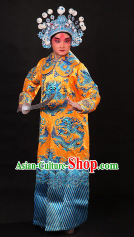 Yellow Traditional Chinese Dragon Embroidery Wusheng Character Costume and Helmet for Men