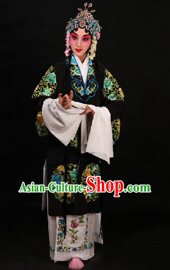 Black Traditional Chinese Opera Round Flower Embroidery Robe and Skirt