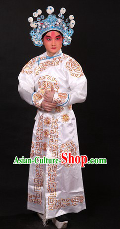 White Traditional Chinese Beijing Opera Wusheng Costume and Hat