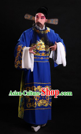 Chinese Opera Stage Performance Official Costumes and Black Gauze Cap for Men