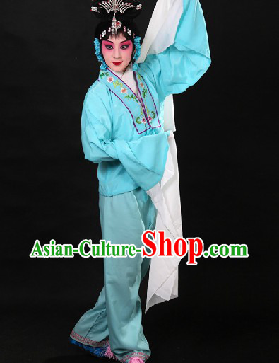 Traditional Chinese Blue Beijing Opera Hua Dan Long Sleeves Practice Robe and Pants