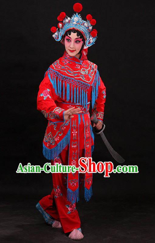 Red Chinese Opera Female Warriors Wudan Costumes for WOmen