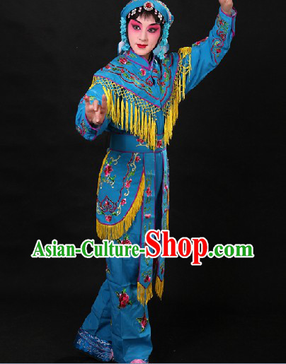 Blue Chinese Opera Female Warriors Heroines Costumes on the Stage