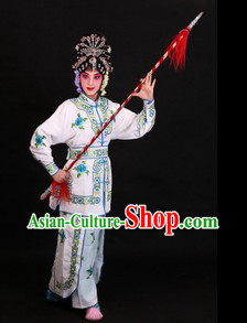 Peking Opera White Snake Legend Female Warrior Costumes and Headpieces
