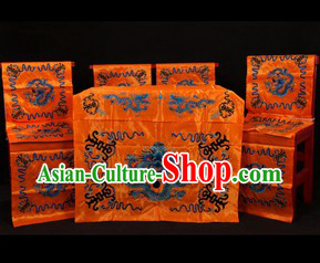 Traditional Chinese Peking Opera Imperial Family Desk and Four Chairs Background