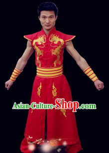 Red Traditional Chinese Drum Player Costumes for Men