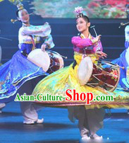 Traditional Korean Long Drum Dancing Costumes and Headdress for Women