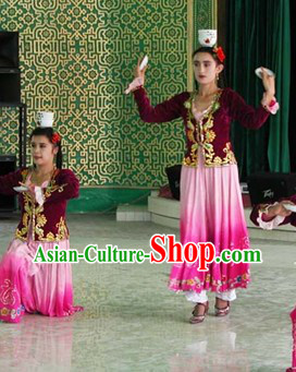 Traditional Chinese Xinjiang Ethnic Dance Costumes and Hat for Women
