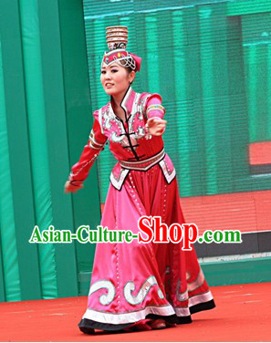 Traditional Chinese Xinjiang Ethnic Dress and Hat for Women