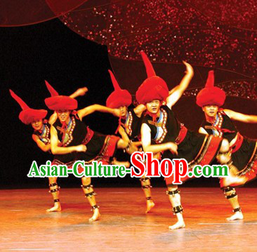 Chinese Ethnic Stage Performance Costumes and Hat for Men