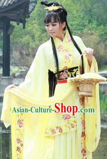 Yellow Ancient Chinese Xi Shi Beauty Costumes and Basket Complete Set