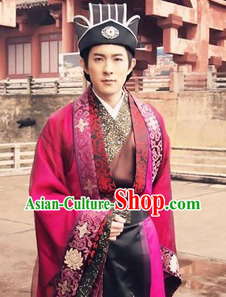 Ancient Traditional Imperial Palace Secretary Costume and Hat for Men