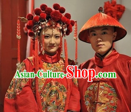 Ancient Chinese Wedding Dresses and Hats for Men and Women