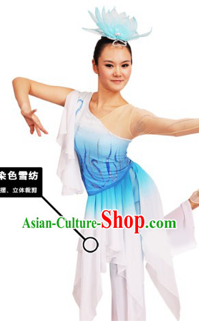 Traditional Chinese Hands Painted Sea Dance Costumes and Headwear for Women