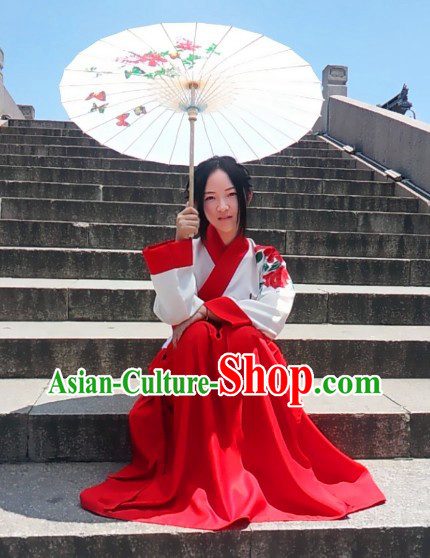 Hands Painted Peony Song Dynasty Female Clothing Complete Set