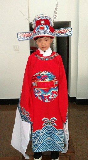 Traditional Chinese Cai Shen Ye Costume and Hat for Children