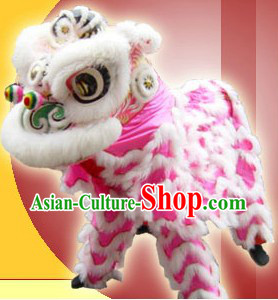 White Wool Hok San Lion Dance Costumes Complete Set for Adults