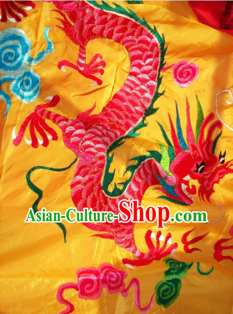 118 Inches Long Big Yellow Chinese Dragon Embroidery Festival Celebration Flag