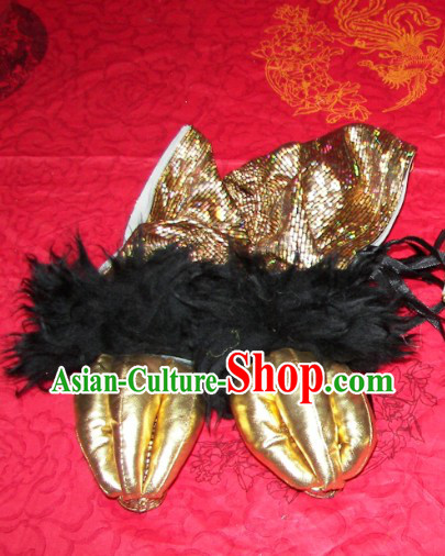 One Pair of Black Wool Lion Dance Claws