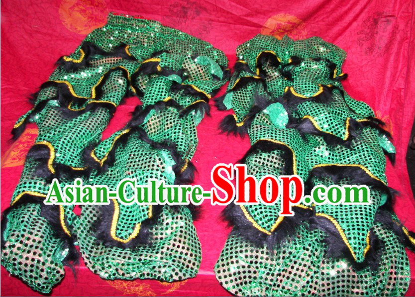 Black Imitation Wool Green Sequins Two Pairs of Chinese Lion Dance Pants and Claws Covers