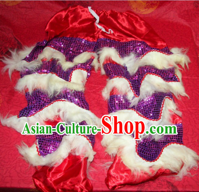 Long Wool Two Pairs of Chinese Lion Dance Pants and Claws Covers