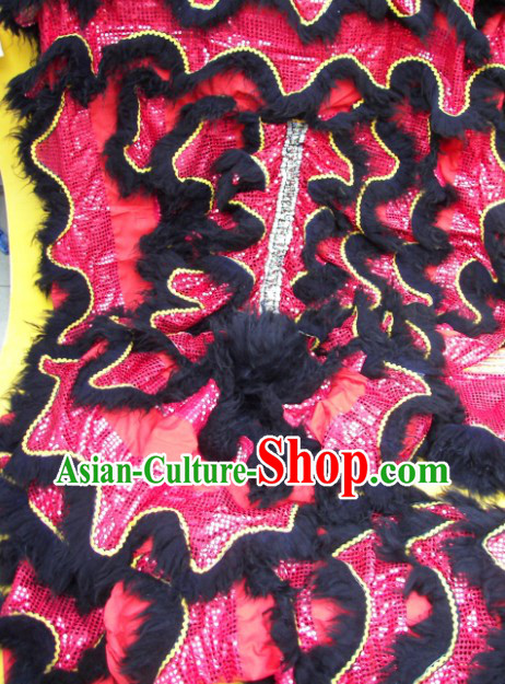 Black Long Wool Red Sequins Lion Dance Body Costumes Pants Claws