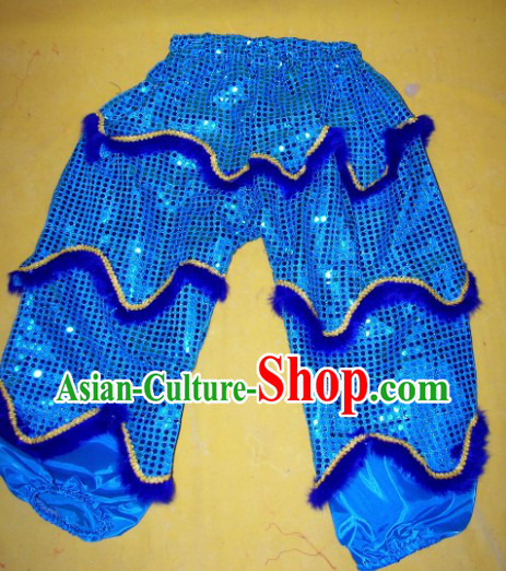 Imitation Wool Blue Color One Pair of Lion Dance Pants and Claws for Children