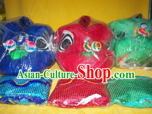 Three Sets Chinese New Year Parade Children Size Lion Dance Costumes