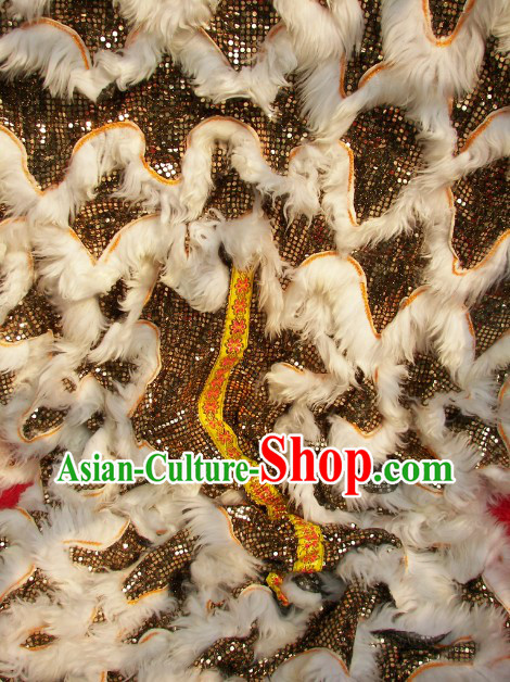 White Wool Black Sequins Lion Dance Body Costumes Pants and Claws