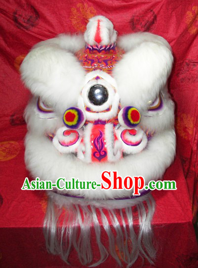 Supreme White Wool Hok San Lion Dance Costumes Complete Set