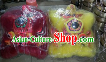 Supreme Top Quality Red and Yellow Lion Dance Costumes Two Complete Sets