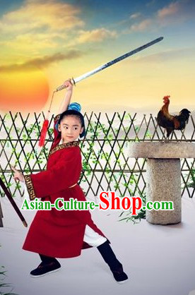 Ancient Traditional Chinese Wu Song Hero Costumes and Headwear for Kids
