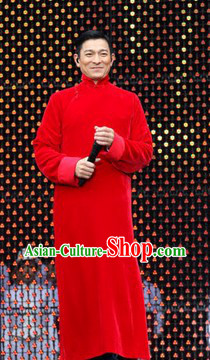 Chinese Lunar New Year Minguo Style Red Da Gua Mandarin Long Robe for Men