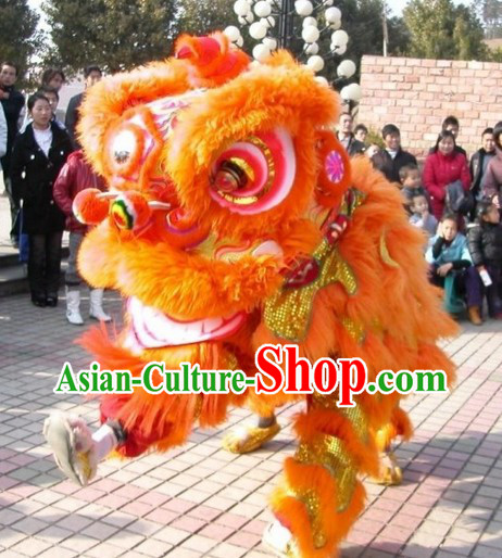 Festival Celebration Fut San Orange Lion Dance Costumes for Display and Play