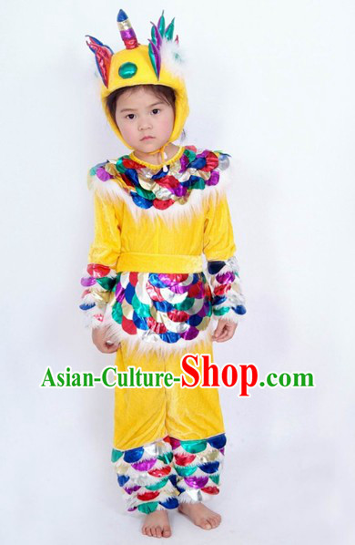Traditional Chinese Kylin Costume and Hat for Kids