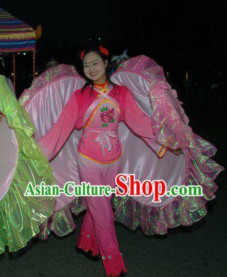 China Lunar New Year Clam Dancing Costumes Full Set