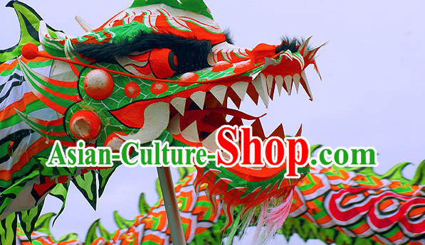 Luminated Green Festivals Use Chinese Dragon Dancing Props Complete Set