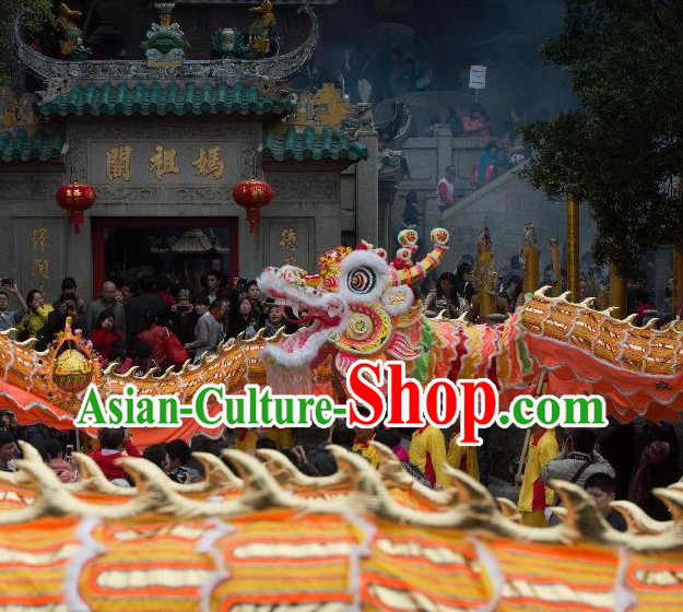 Supreme Best Gold Chinese Lunar New Year Long Wool Dragon Dance Equipments Full Set