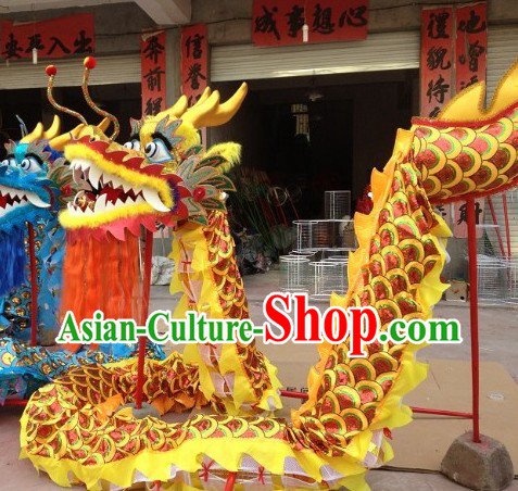 Traditional Handmade Red Scale Yellow Dragon Dancing Costumes Complete Set
