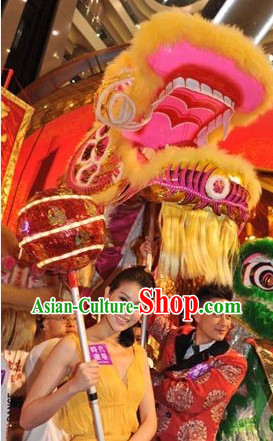 Supreme Best Deep Yellow Festival Celebration Dragon Dancing Costumes Full Set